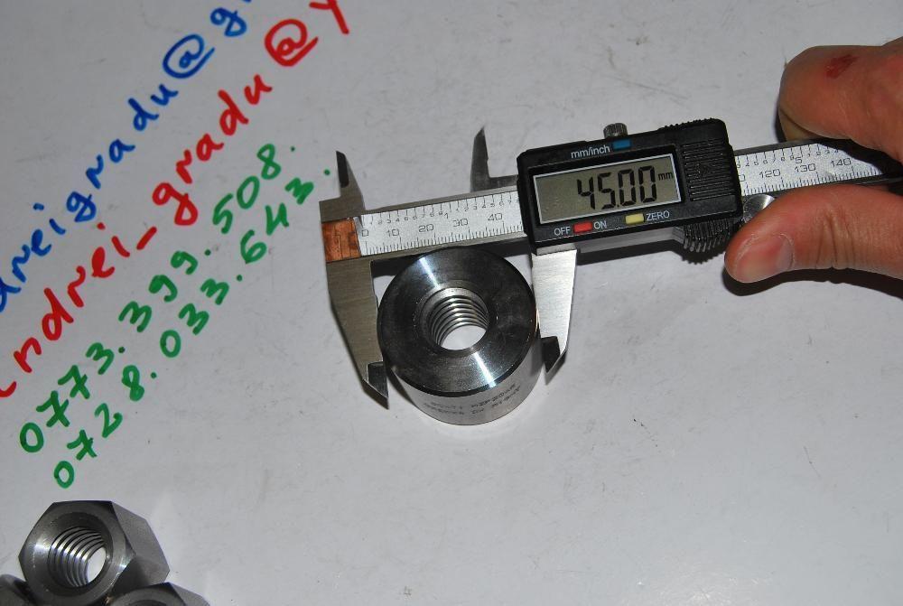 Piulita cilindrica-hexagonala 20x4 din otel pas trapezoidal - sudabila