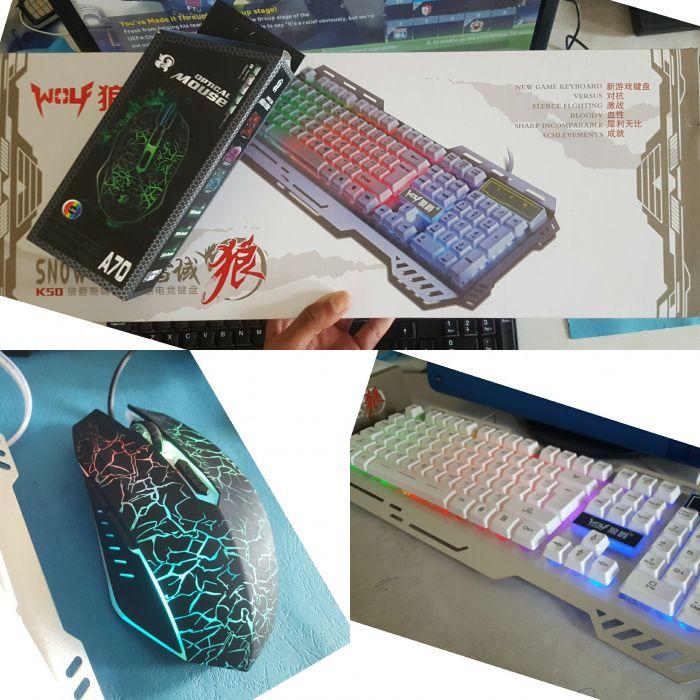 Kit Mouse e teclado luminoso gamer modo usb
