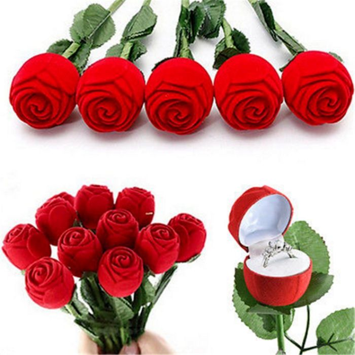 Cutie cadou trandafir inel surpriza logodna diverse modele