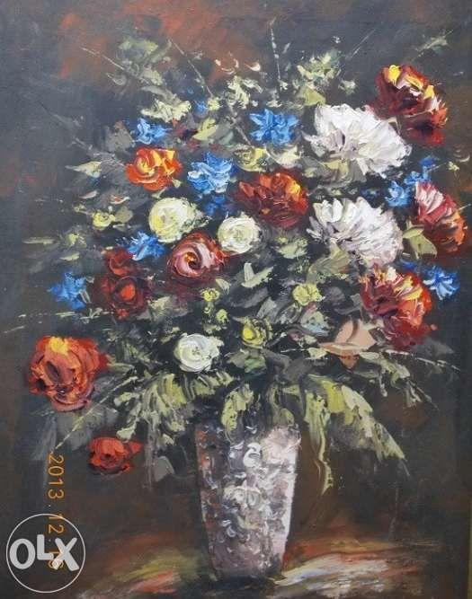 "Tablou - ""Vaza cu flori"" semnat ""Leca"""