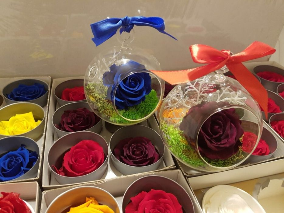Cadou trandafir criogenat in glob de sticla 65 lei