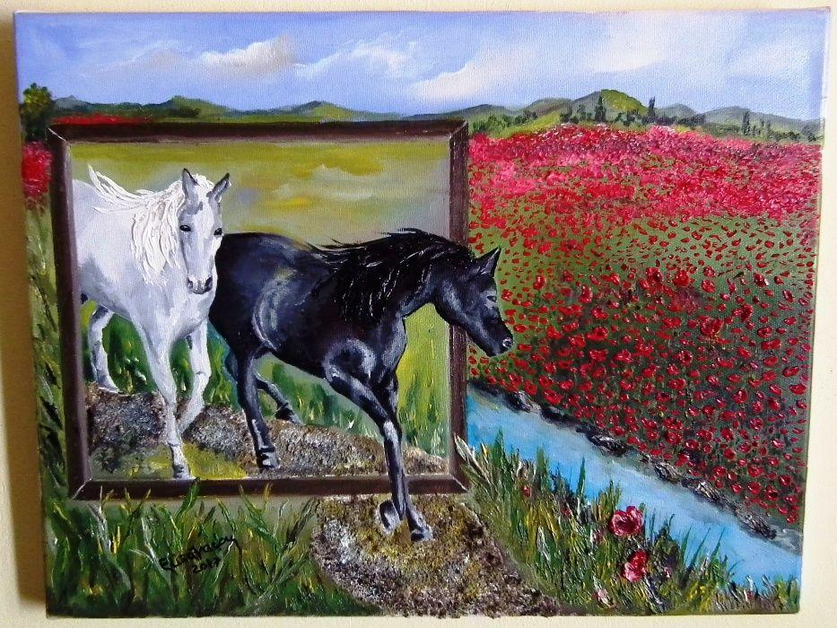 """""""Urmeaza-ti drumul spre libertate,spre natura"""",pictura in ulei,panza"""