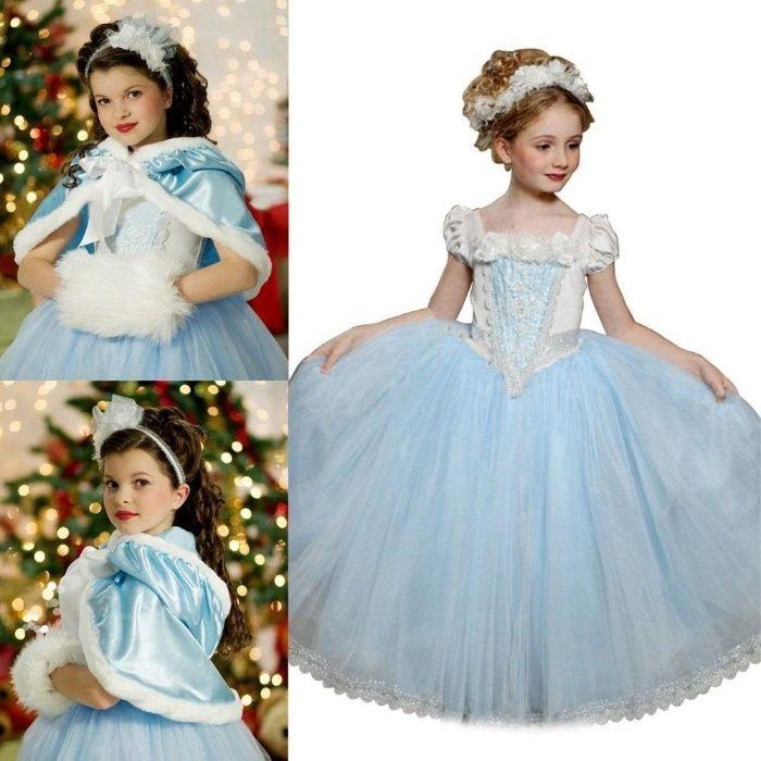 Пленителна лукс нова рокля Снежната кралица Елза с наметало-Модел 5