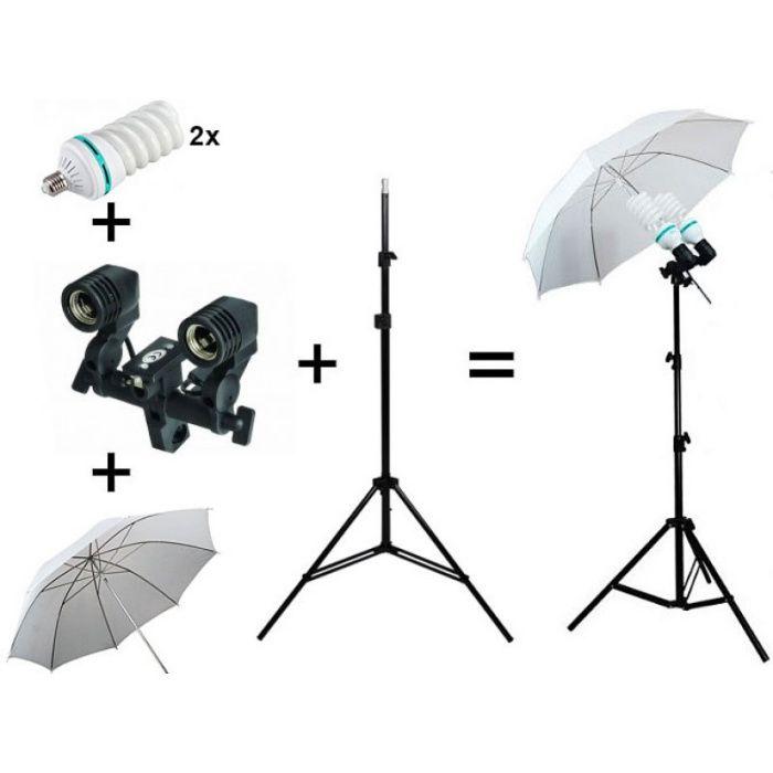 Kit lumini videochat cu 2 becuri si umbrela tip softbox difuzie 83cm