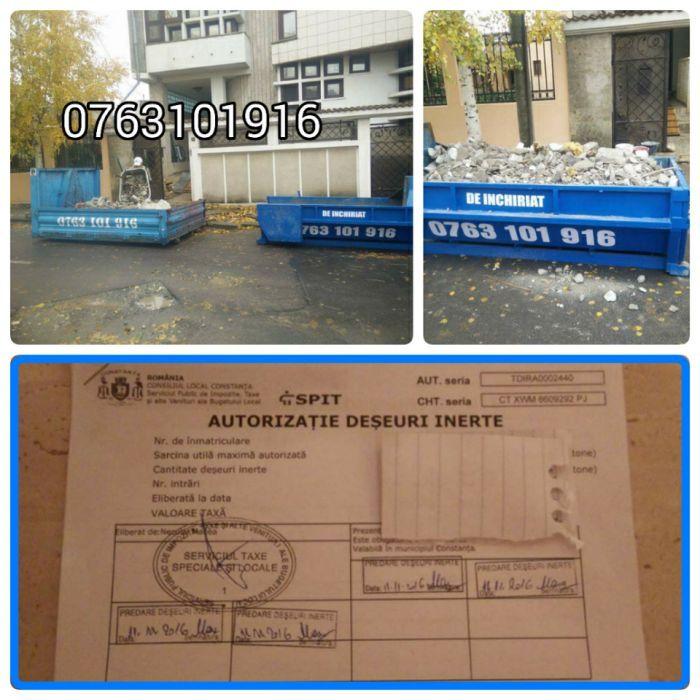 Transport moloz, moluz autorizat! bena, container, ghena, targa, deta!