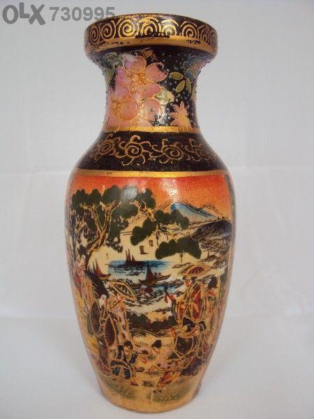 Старинна Ваза Порцелан Керамика Китайски Елементи