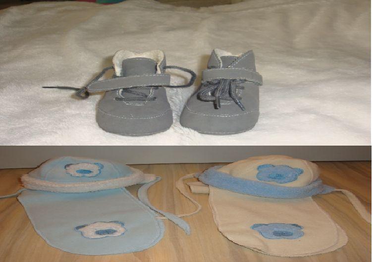 ботички за бебче и 2 комплекта шапка и шал