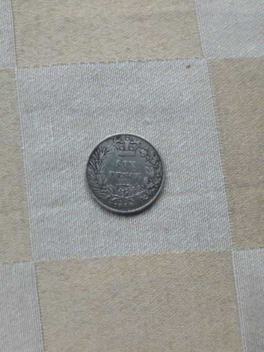 Продавам стара много рядка сребърна монета sixpence 1848