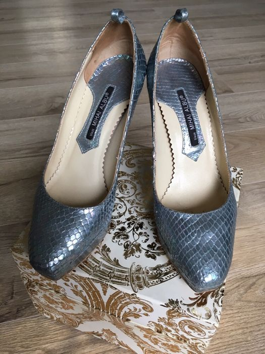 Pantofi Piele șarpe Argintii Mihai Albu 37 Ideal Mireasa Banesti