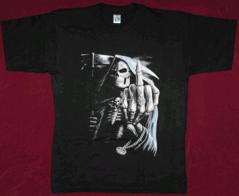 Tricou Moartea cu semnul pacii,tricouri schelet/craniu/scleleti/cranii