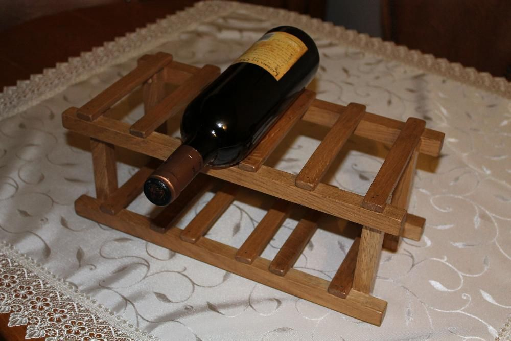 Suport pe masa de 6 butelii vin, din lemn