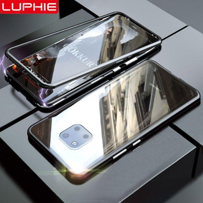 Huawei Mate 20 Pro - Husa Magnetica Spate Sticla Rama Metal Neagra