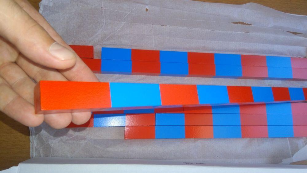 Монтесори Дървени Числови Летви синьо-червени пръчки стикове гр. Бургас - image 6