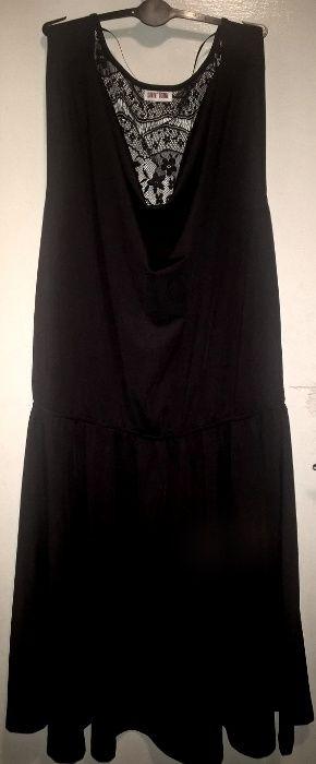 Черна дамска рокля с дантелен гръб