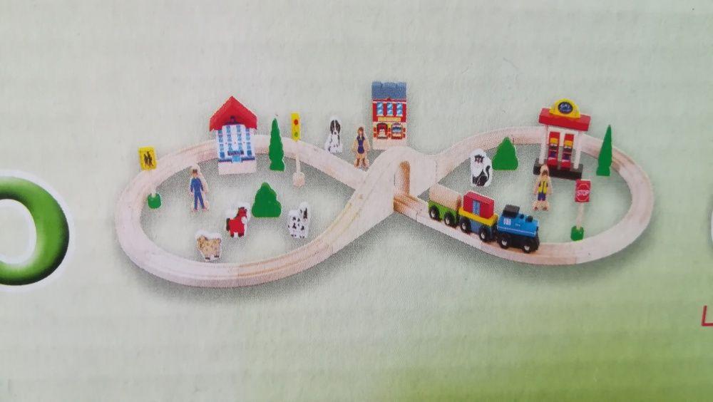 Trenuleț din lemn cu sina și accesorii nou