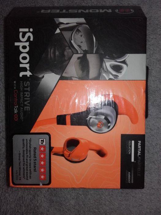Casti audio Monster iSport Strive, noi, culoare portocaliu