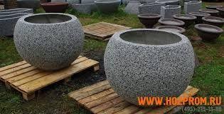 "Вазоны из мраморной крошки , размер - 550 х 500 мм ""-мытый бетон"""
