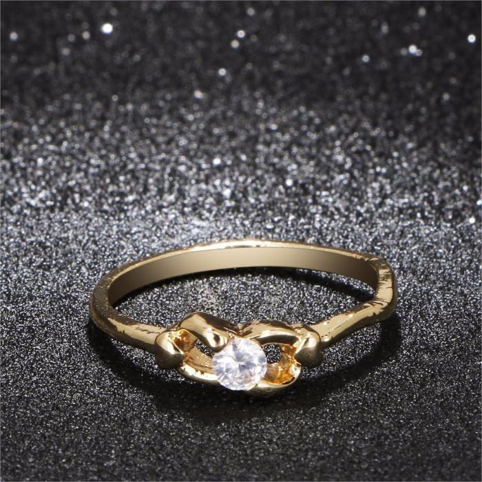 GR308,inel placat aur 14k, model logodna, zircon alb