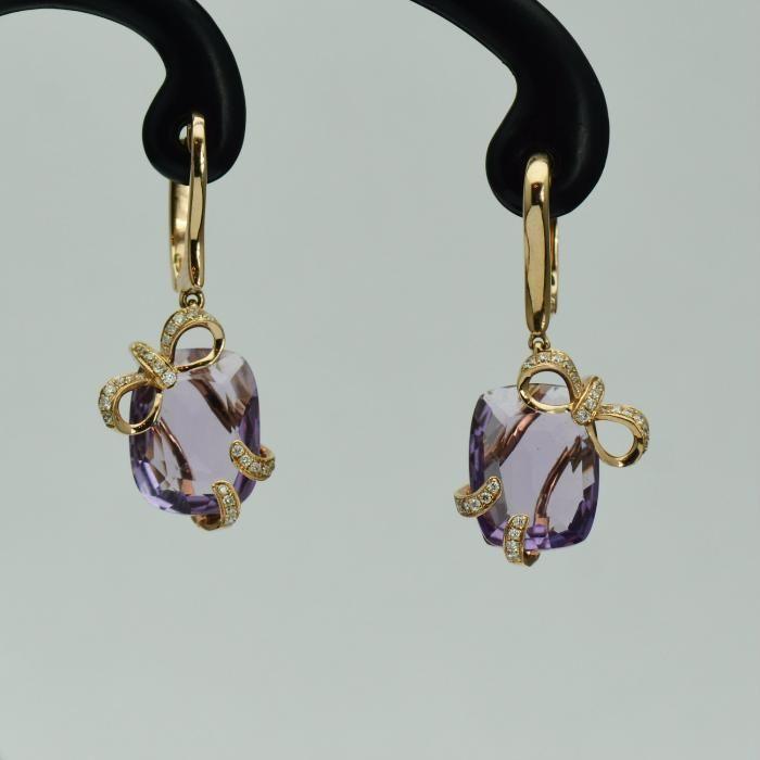 Cercei din aur roz cu ametiste si diamante (cod 3385)