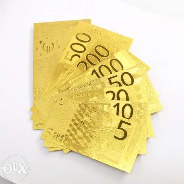 Пълен комплект златни банкноти/златна банкнота - Евро/Euro