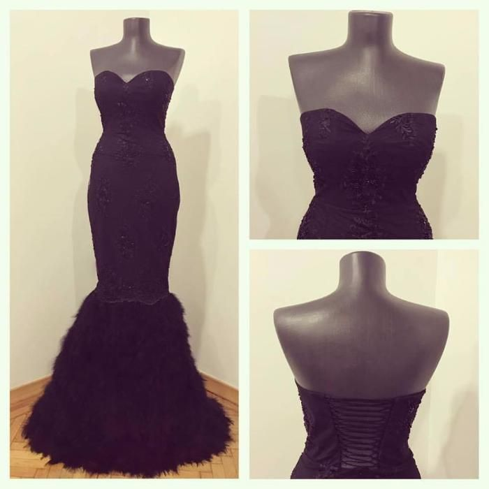 Rochie de ocazie cu pene negre