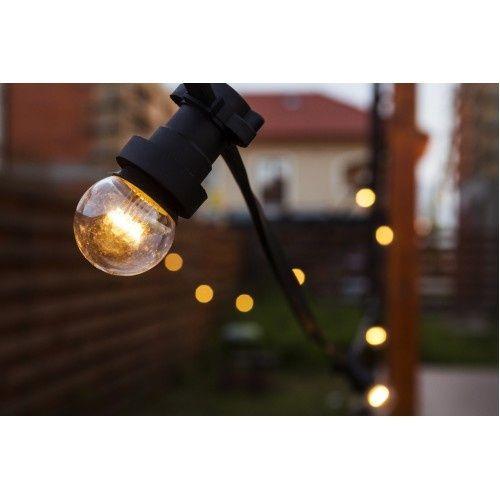 Ghirlande Luminoase 10M 20 Becuri LED E27 Cablu Plat Negru de Exterior