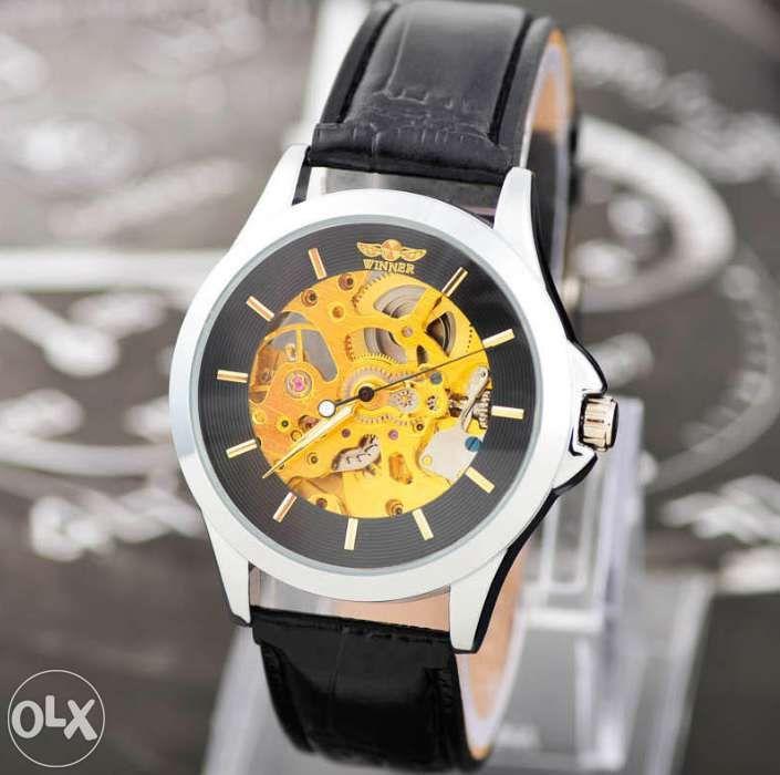 Ceas Luxury WINNER MECANIC Skeleton Full Automatic White Black