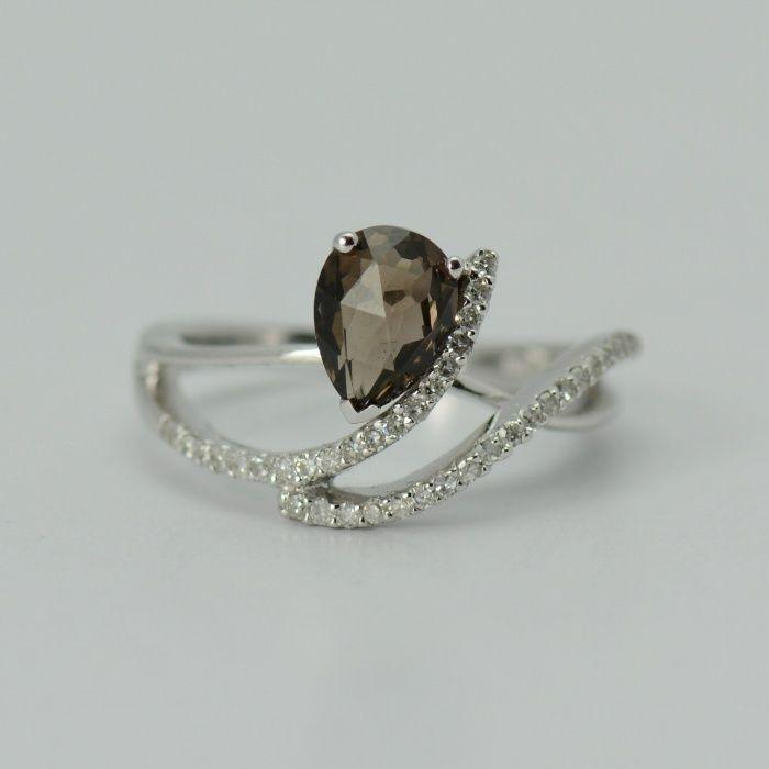 Inel din aur de 14k cu diamante si cuart (cod 6783)