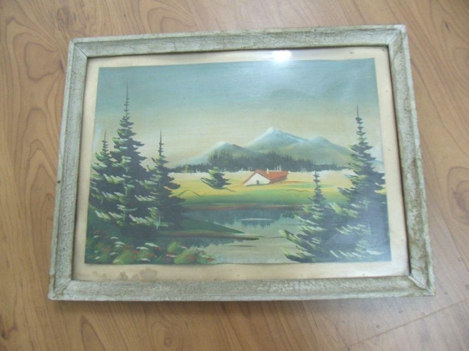 оф.1275 стара рисувана картина с рамка - размери картина 35 / 25 см ,