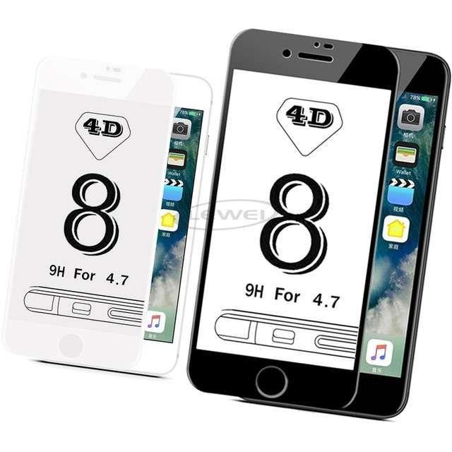 Iphone 7 7+ 8 8+ Folie Sticla Curbata Full Cover Alba, Neagra