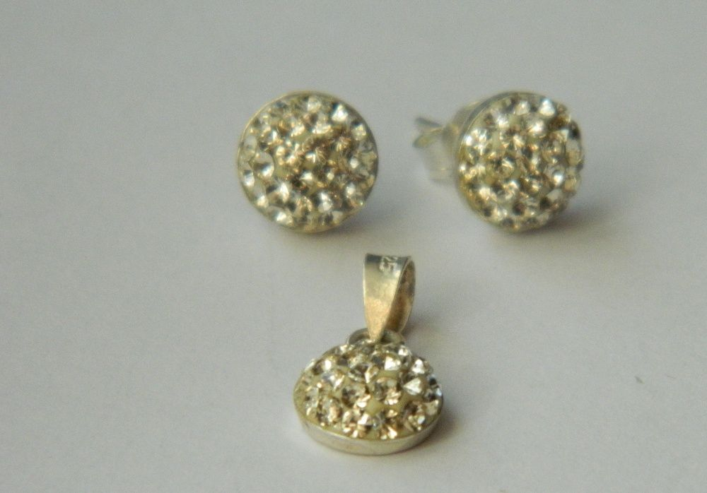 ARG150set argint 925,nou/marcat, cristale swarovsky albe