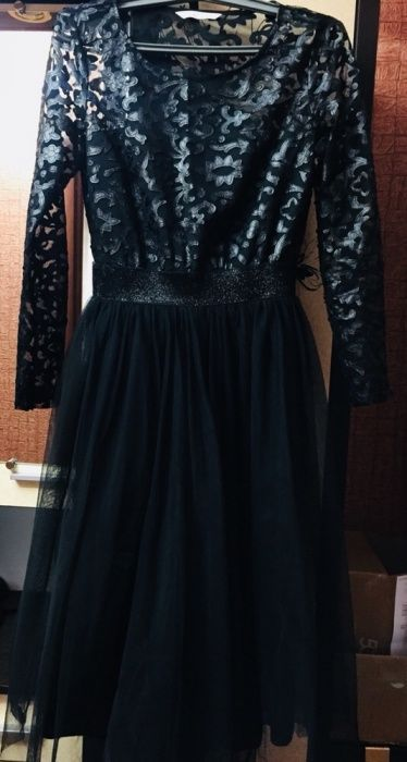 Платье чёрное-юбочка из фатина