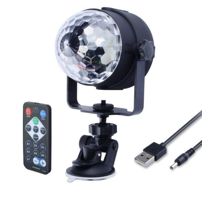 STROBOSCOP cu LED RGB 4mm alimentat la USB 5V cu telecomanda