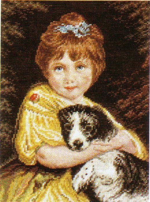 """Гоблен """"Момиче с куче"""", ушит, с рамка"""
