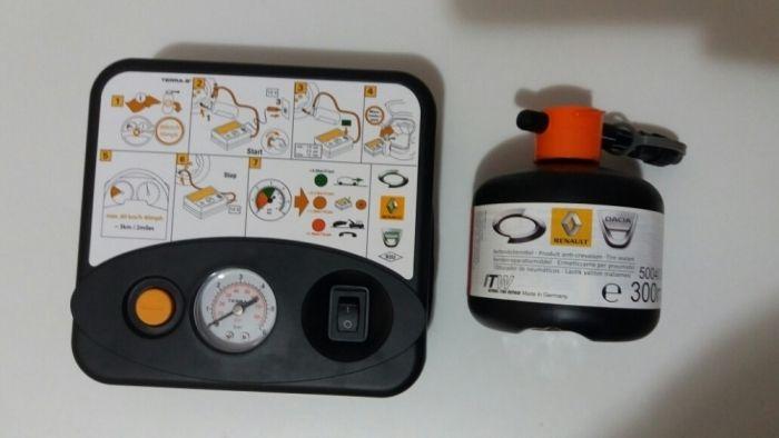 Kit panaumflat roti compresor+solutie etansare originale Renault Dacia