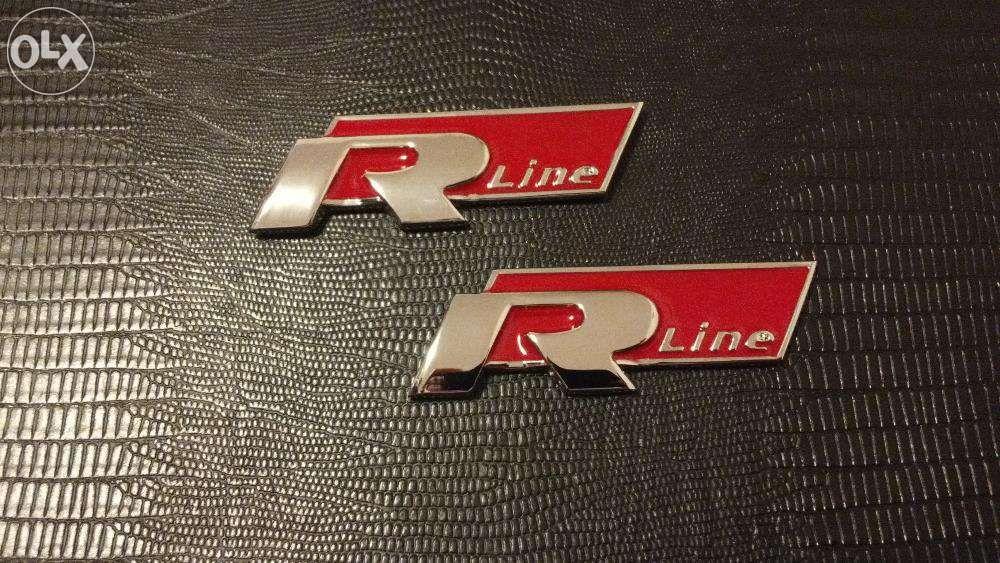 Emblema VW R-line Aripi golf/passat/scirocco/tiguan metal rosu/crom