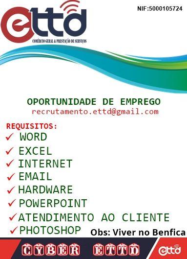 Oportunidade de Emprego - Envia Currículo por email