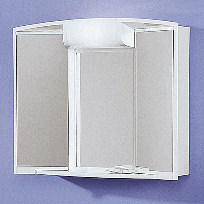Огледален шкаф за баня с осветление-59х50х15 см.