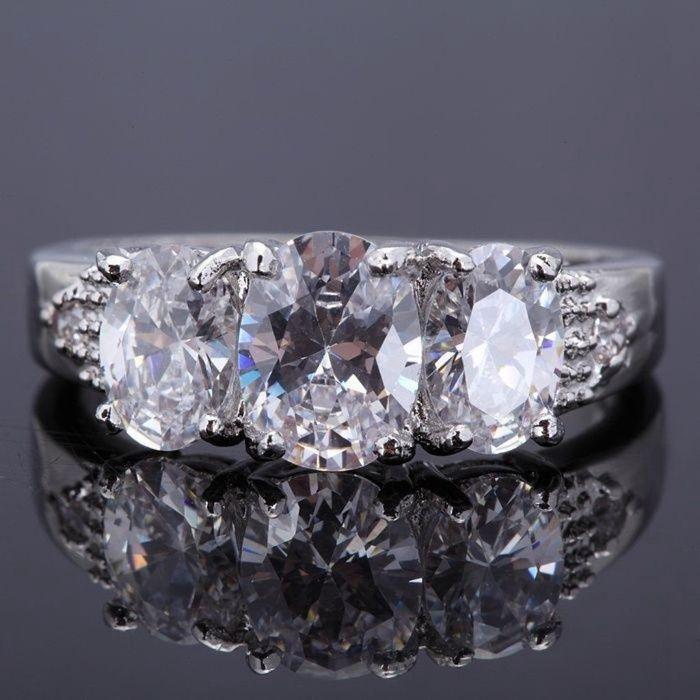 GPR166,inel placat aur 18k alb, ideal logodna, zircon alb fatetat