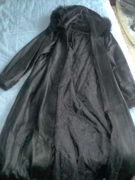 Дамско кожено палто дълго