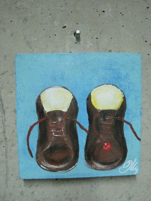 Малка картина ,, Обувки,, маслено пано