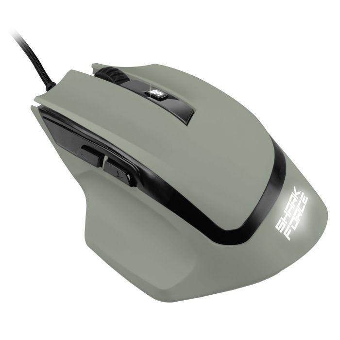 Мишка Оптична USB SHARKOON - SHARK Force Геймърска кремава,ментово зел
