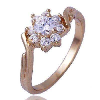 GR124,inel placat aur 18k, ideal logodna, zircon alb floare