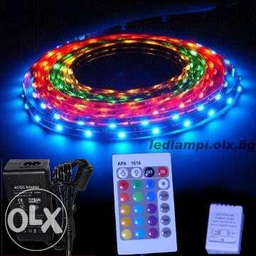 Комплект цветна ЛЕД лента 5м. диодна захранване и контролер LED ленти