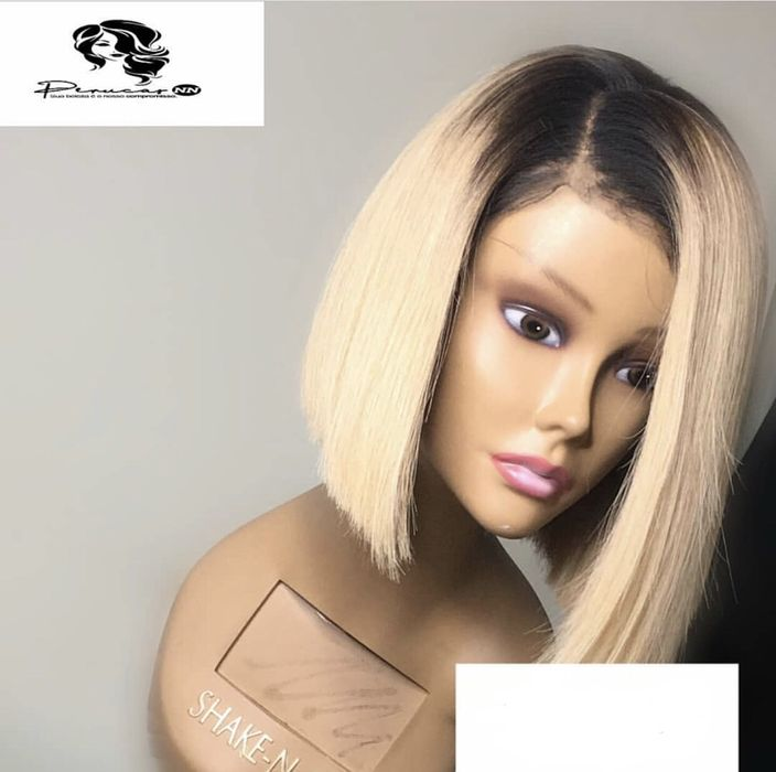 Peruca humana de cabelo liso loiro com front lace