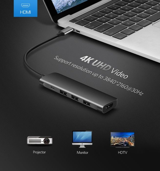 HUB, Переходник USB-C для MacBook Pro 12, 13, 15 Retina. Оригинал