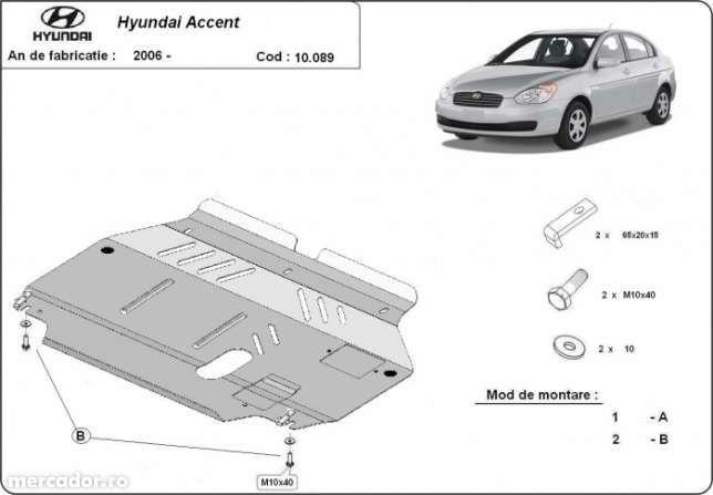 Scut metalic pentru motor Hyundai Accent 2006-prezent - otel 2mm