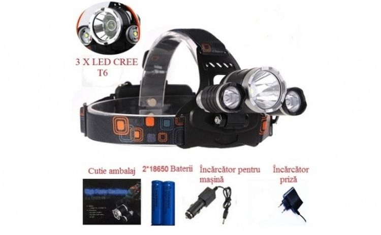 Lanterna frontala reglabila cu 3 LED-uri CREE XM-L T6