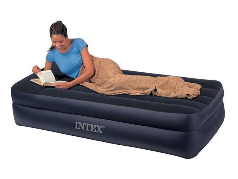Односпальная надувная матрас-кровать 99х191х42см с встр. насосом Intex