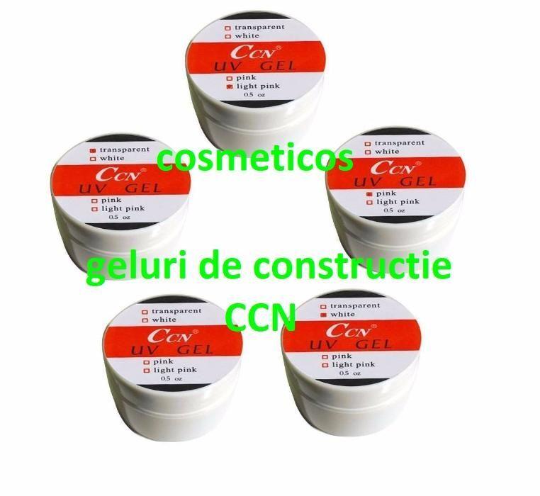 5 Geluri unghii uv CCN white/ transparent/ pink/cover Gel constructie